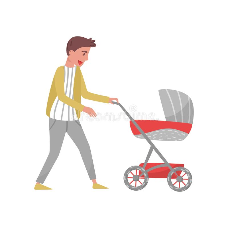 Young parent walking outdoor with baby in stroller. Father and child. Cartoon character of cheerful man. Flat vector. Young parent walking outdoor with baby in vector illustration