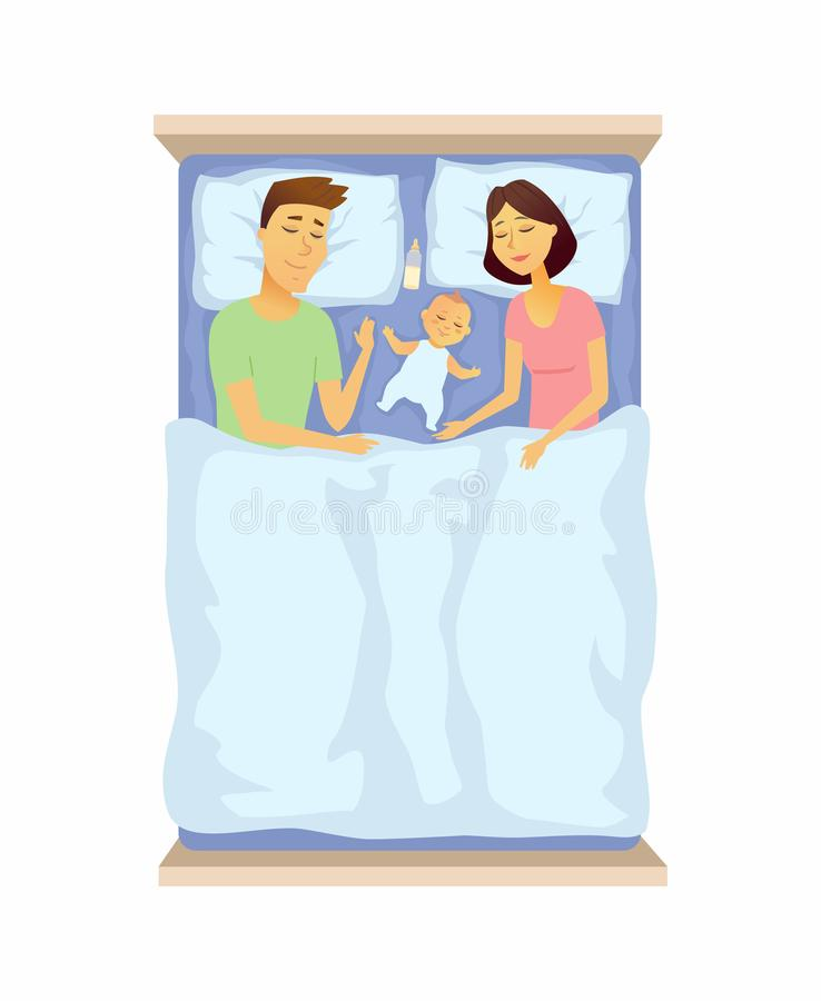 Young parents and baby sleeping - cartoon people character isolated illustration stock illustration