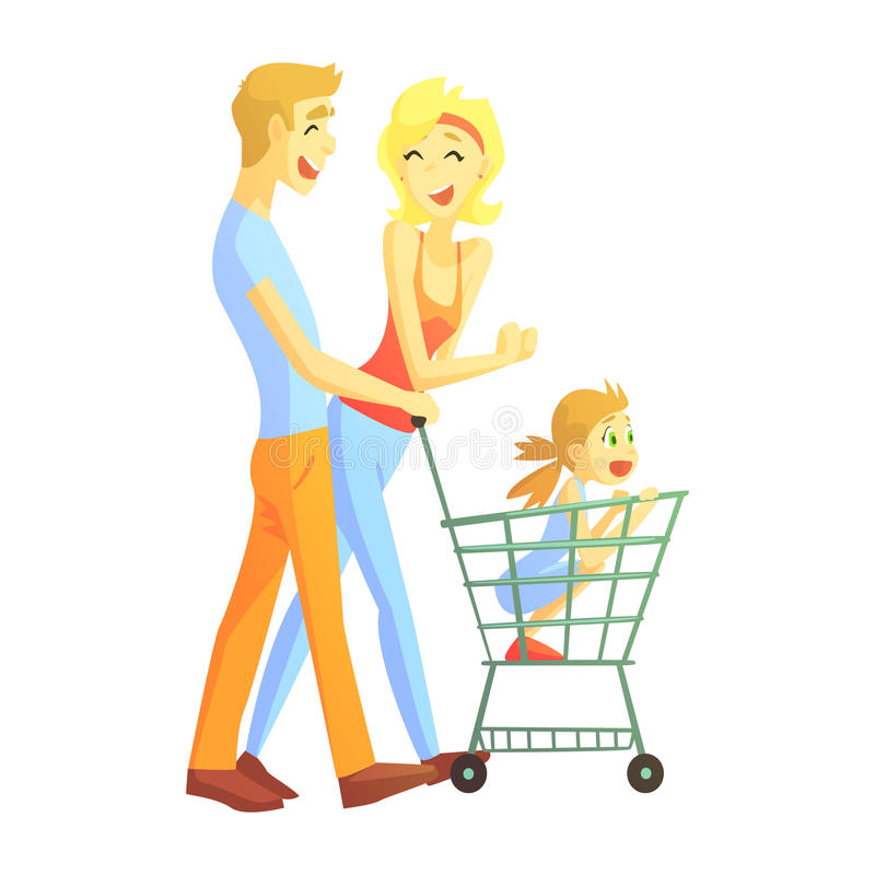Young Parents With Little Girl Shopping, Happy Loving Families With Kids Spending Weekend Together Vector Illustration. Smiling Characters Having Fun With vector illustration