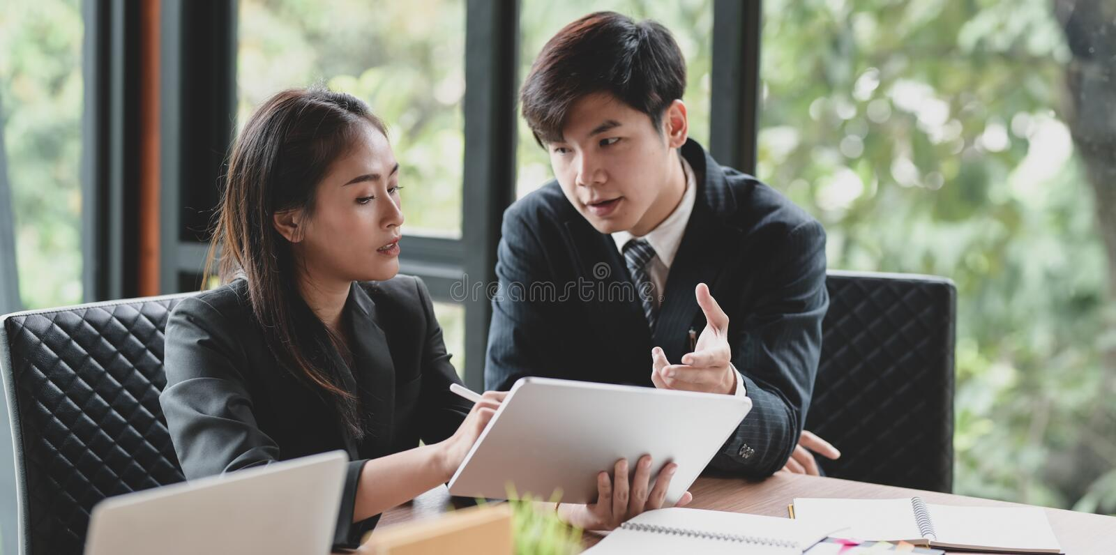 Young passionate business group exchanging their idea concepts royalty free stock photos