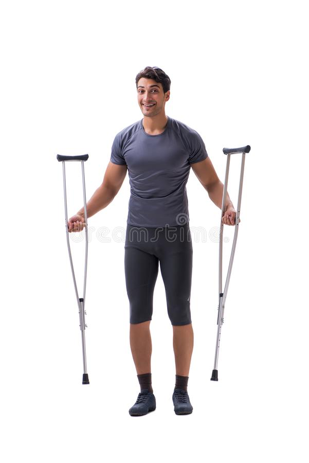 Young patient athlete sportsman suffering an injury trauma with stock photos