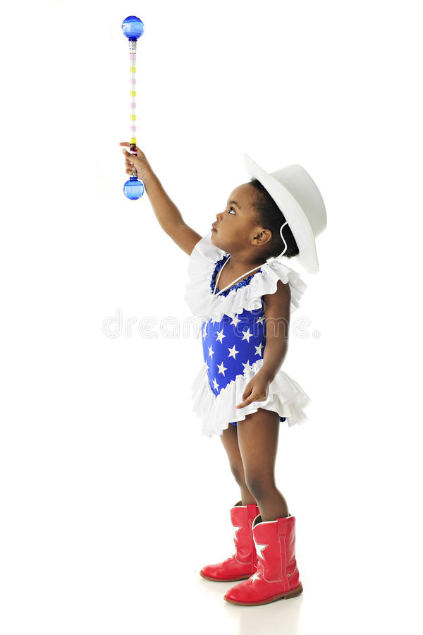 Young Patriot Reaching for the Stars royalty free stock image