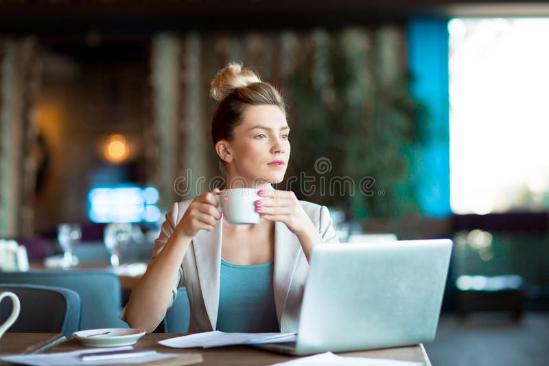 Manager in cafe stock image