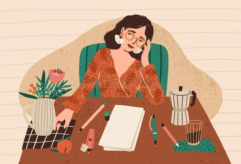 Young pensive woman sitting at desk with clean sheet of paper in front of her. Concept of writer`s block, fear of blank royalty free illustration