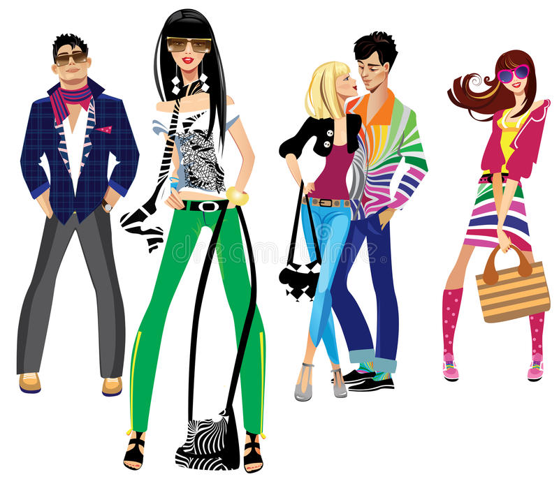 Young people. Colorful illustration of fashion young people stock illustration