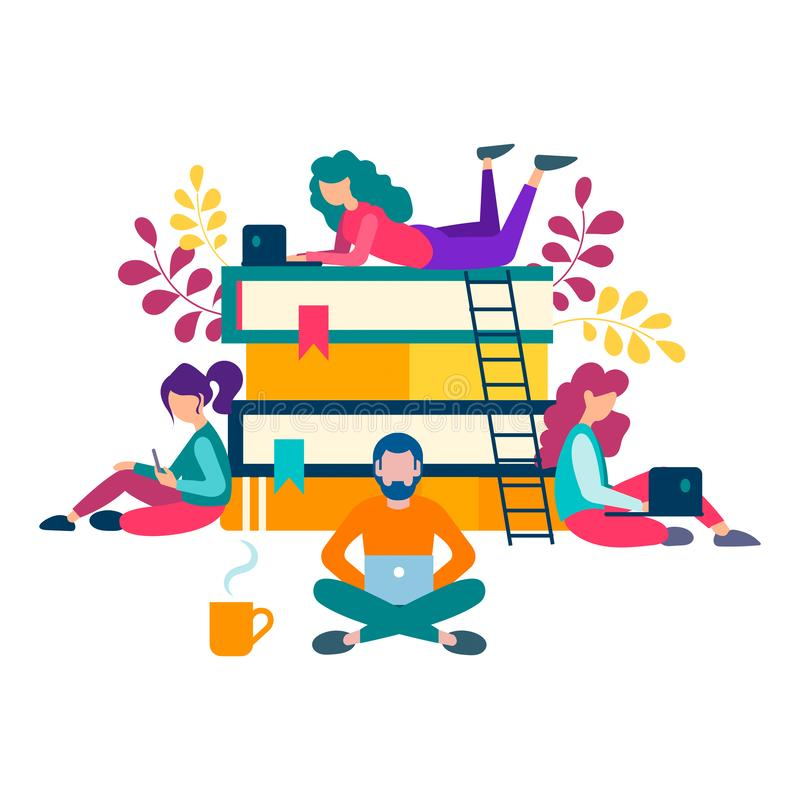 Young people around a stack of books are getting online education vector illustration
