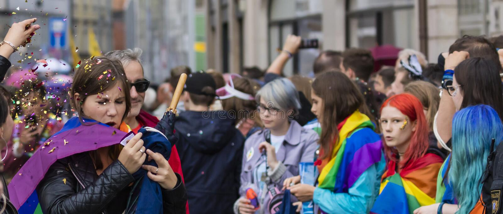 Young people attending the Gay Pride parade also known as Christopher Street Day CSD in Munich, Germany. 2019: Young people attending the Gay Pride parade also stock photos