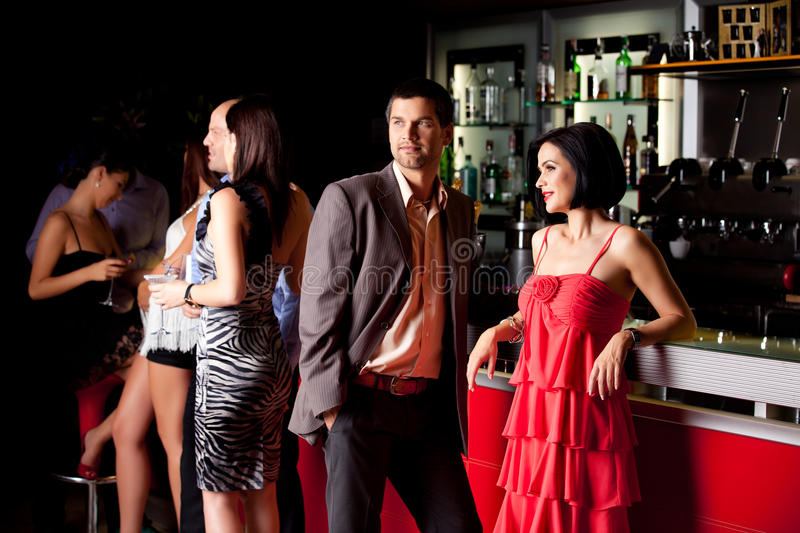 Young people in bar having fun stock images