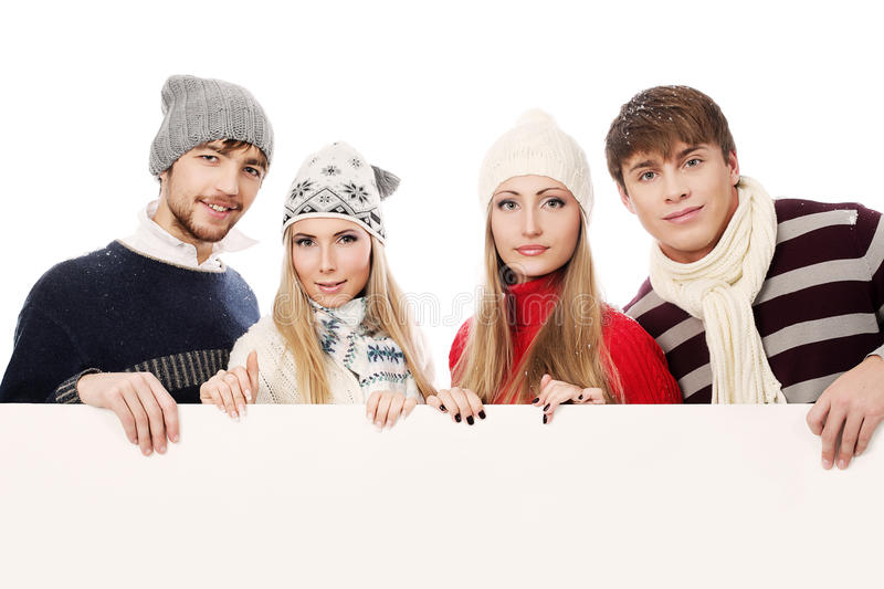 Young people with a board stock image