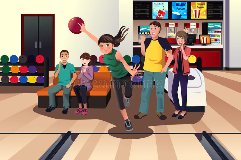 Young people at bowling vector illustration