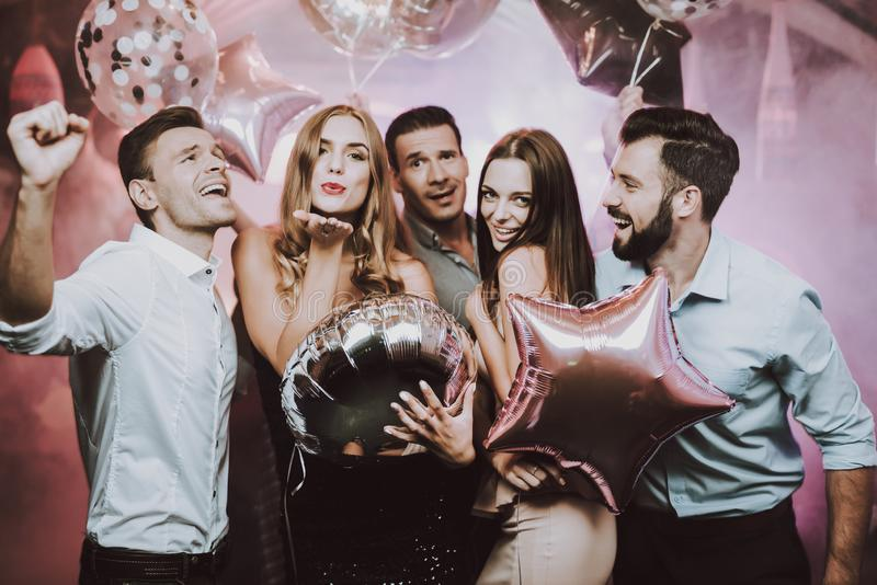 Young People. Came to Club. Dance. Fun. Balloons. royalty free stock photo