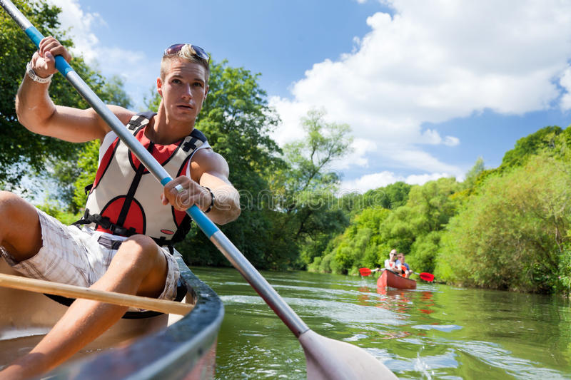 Young People Canoeing stock photo
