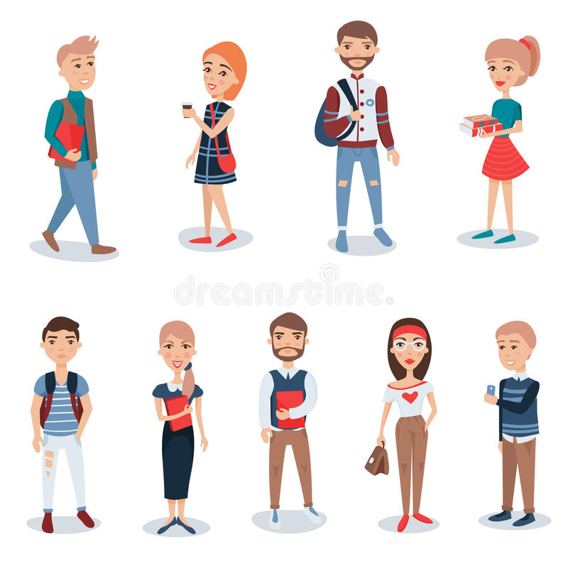 Young people in casual clothes standing set. Business people characters vector illustrations stock illustration