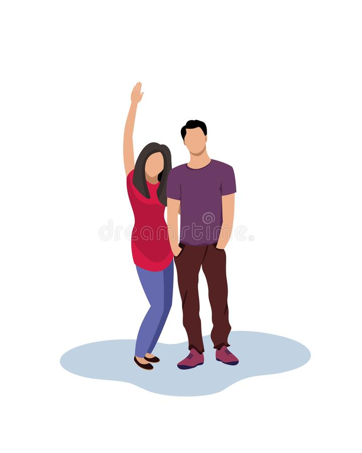 Young people in casual wear. Cartoon people illustation. Man and girl couple, isolated. The girl raised her hand. royalty free illustration