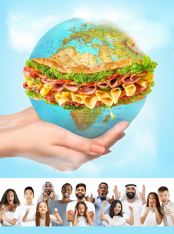Young people celebrating and looks happy, save healthy food royalty free stock image
