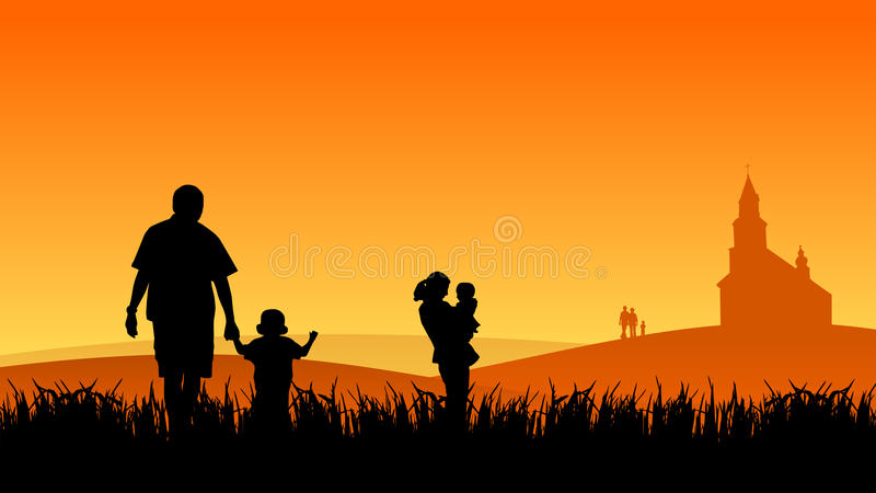 Young people with children stock illustration