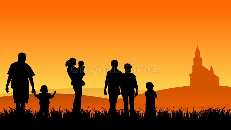 Young people with children vector illustration