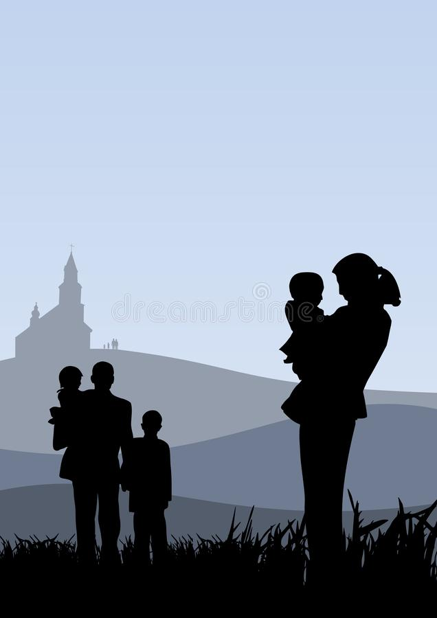 Young people with children going to church holiday catholic illustration royalty free illustration