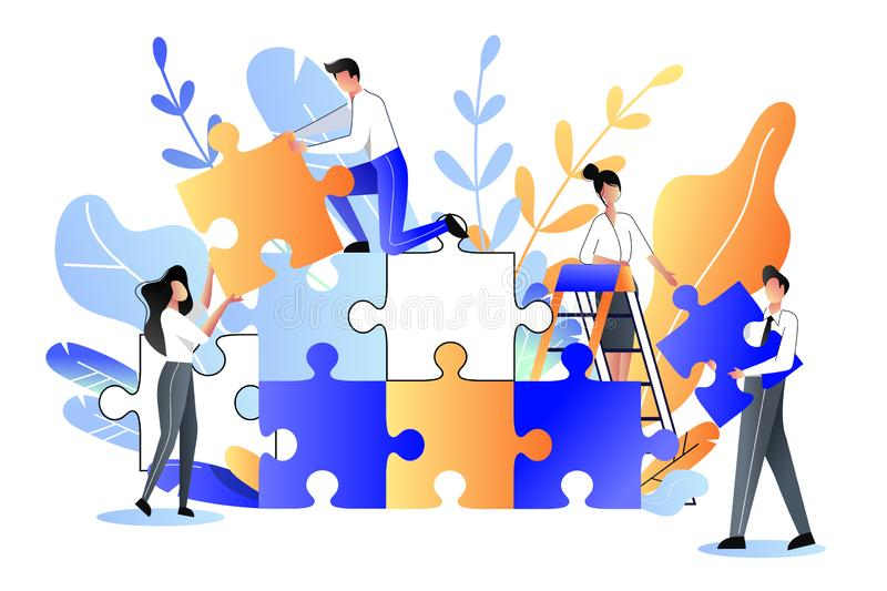 Young people collect multicolor puzzle. Vector flat illustration. Development, teamwork, partnership business metaphor stock illustration
