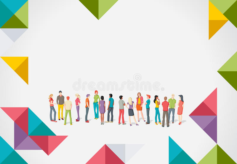 Young people. Colorful template for advertising brochure with large group of young people stock illustration