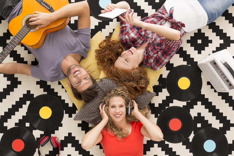 Young people composing songs stock image