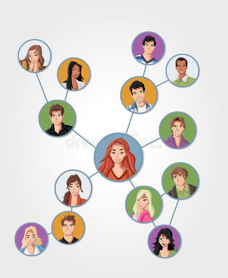 Young people connected vector illustration