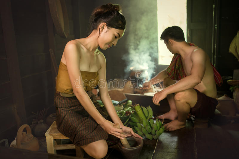 Young people are cooking Thai in the kitchen. Thai Traditional stock image