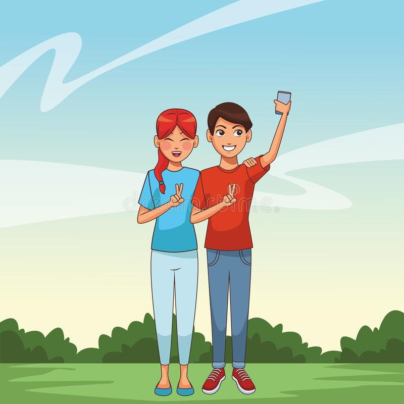 Young people couple stock illustration