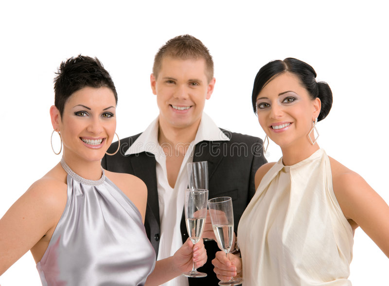 Young people drinking champagne stock photo