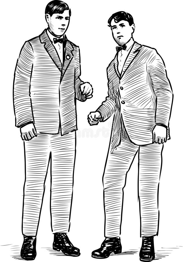 Young people of the early 20th century. A sketch of persons of the early of past century royalty free illustration
