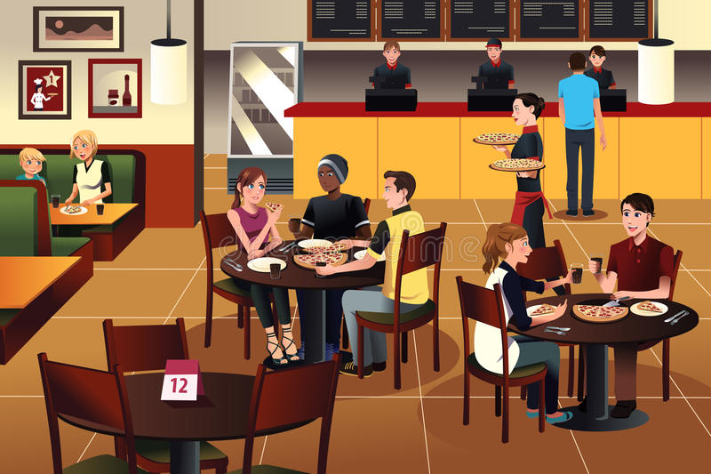 Young people eating pizza together in a restaurant stock illustration