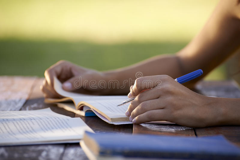 Young people and education, woman studying for university test stock photos