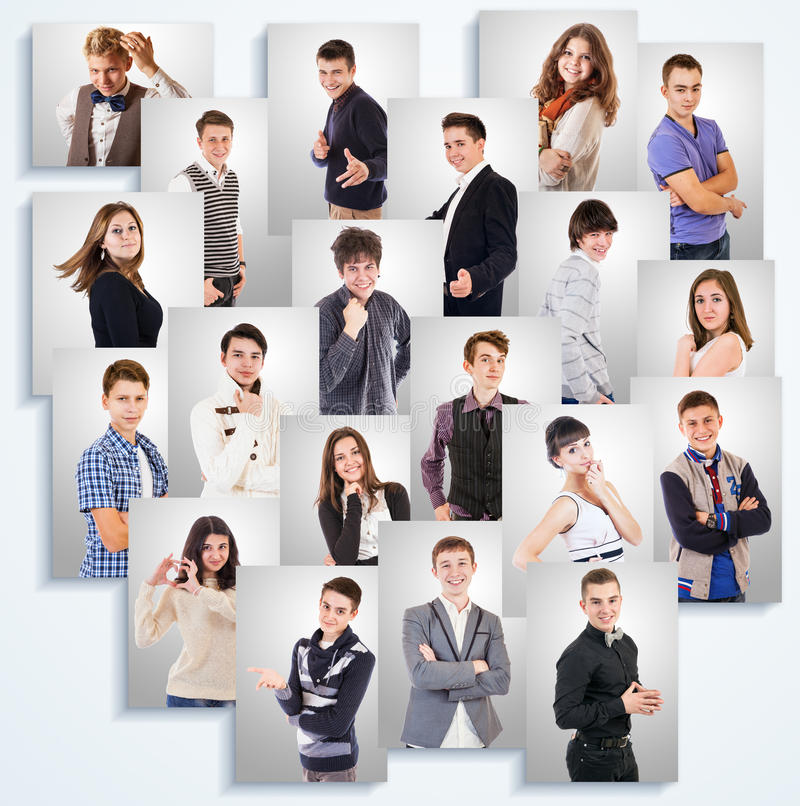 Young people emotional portraits photos on the white wall stock image