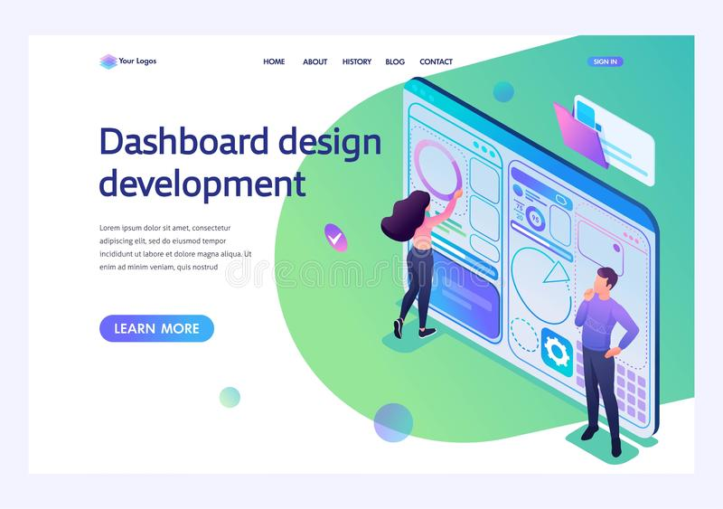 Young people are engaged in the Dashboard design development. Concept of modern technology. 3d isometric Landing page concepts and. Young people are engaged in royalty free illustration