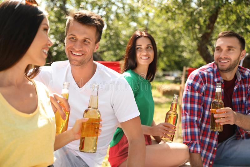 Young people enjoying picnic on summer day stock image