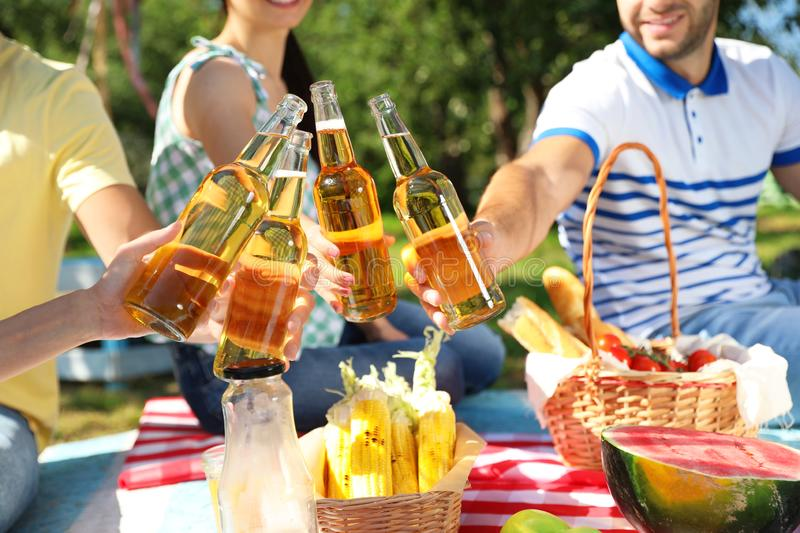 Young people enjoying picnic in park on summer day stock image