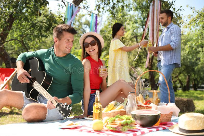 Young people enjoying picnic on summer day stock images
