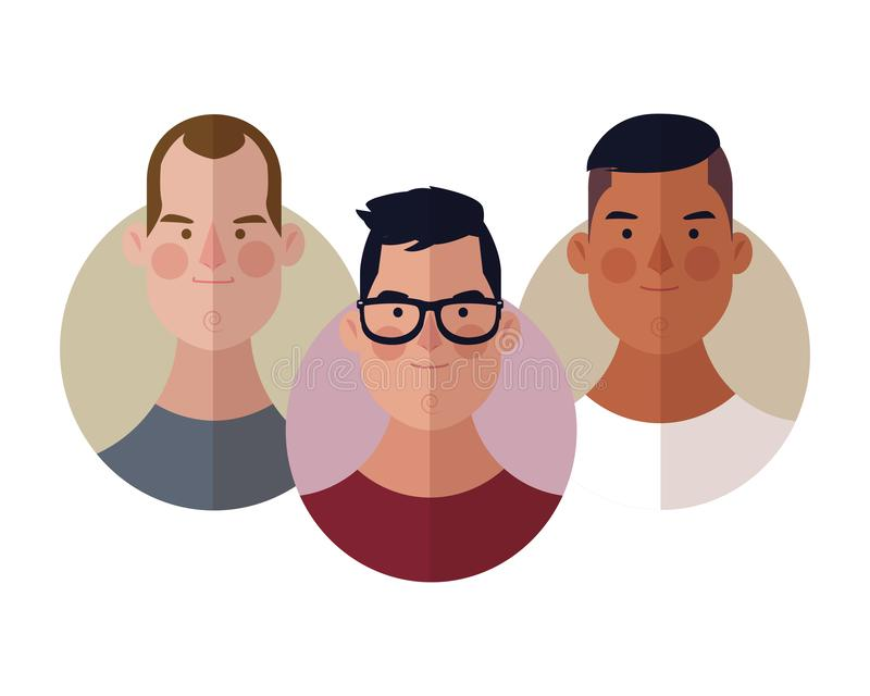 Young people face round icons. Young people face cartoons round icons vector illustration graphic design vector illustration