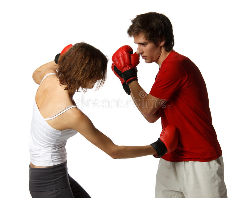 Young people in fighting gloves royalty free stock photography