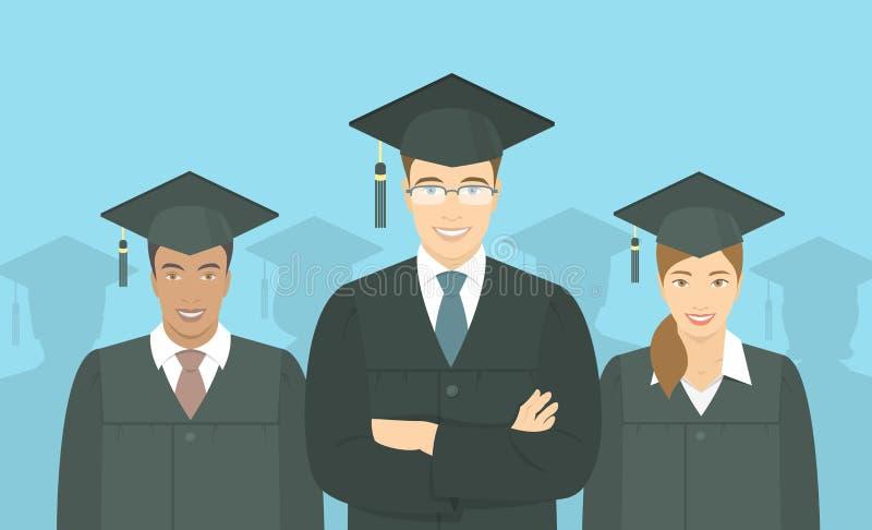 Young people graduate bachelor degree flat concept. Modern flat vector horizontal illustration of a group of multiracial young people graduate bachelor degree stock illustration