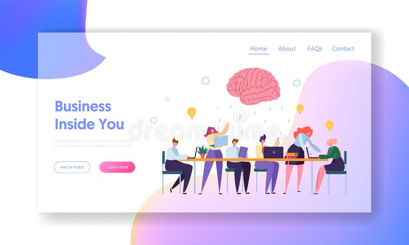 Young People Group Character at Brainstorm Meeting Landing Page. Male and Female Work for New Business Idea Teamwork royalty free illustration