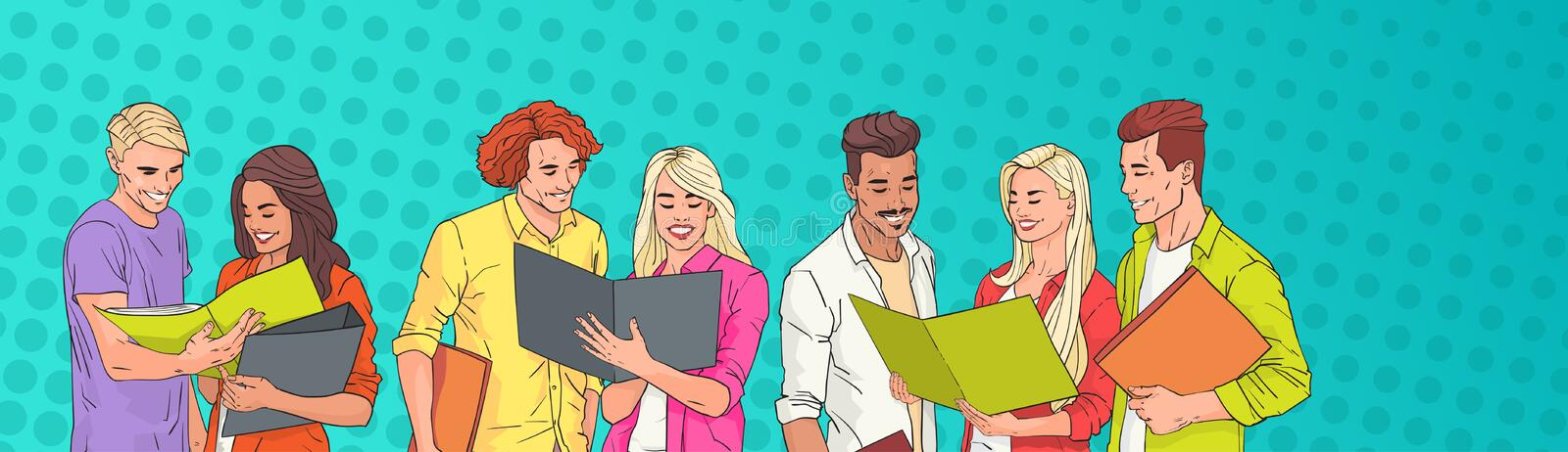 Young People Group Students Reading Over Pop Art Colorful Retro Background royalty free illustration