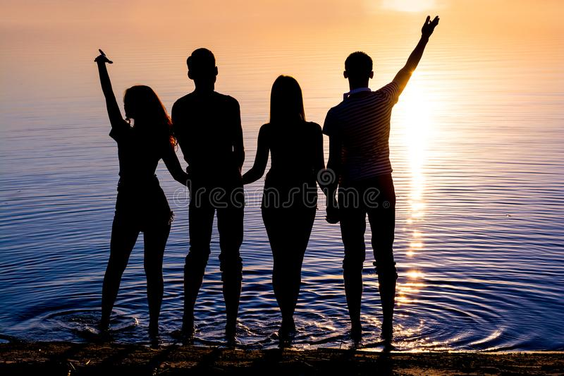 Young people, guys and girls, are standing on the beach and watching the sunset, silhouettes royalty free stock images