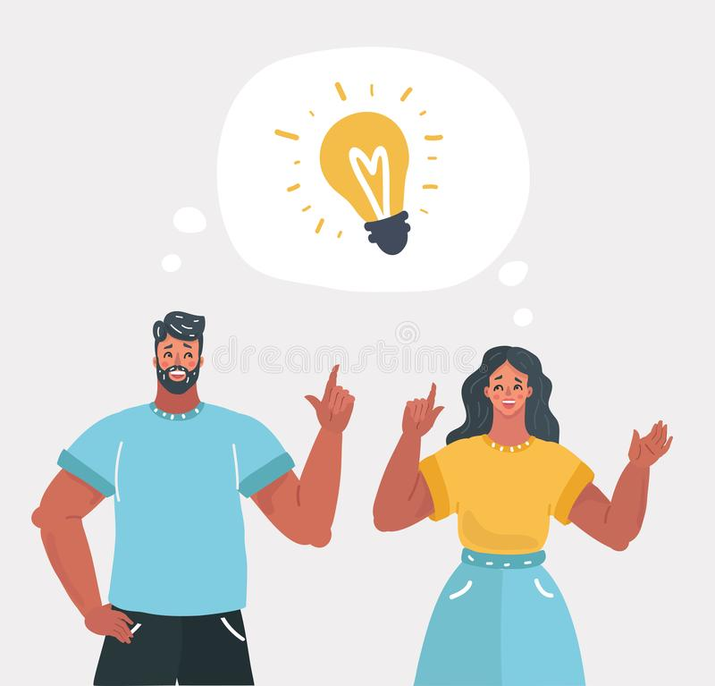 Young people have idea. vector illustration