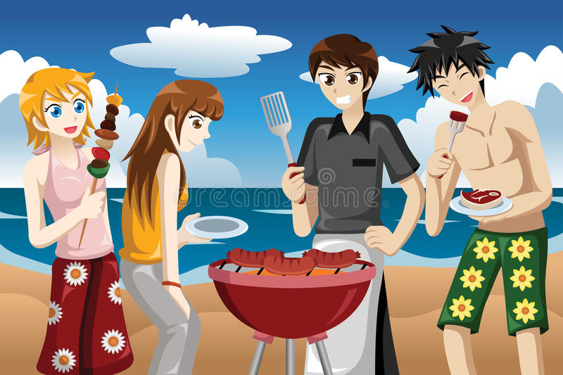 Young people having a bbq stock illustration