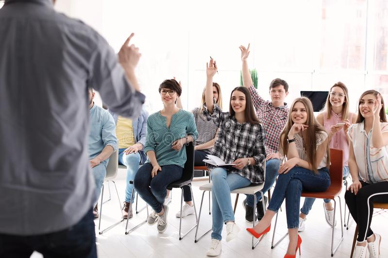 Young people having business training stock photos