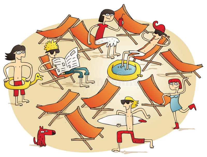 Young people having fun on a beach vector illustration