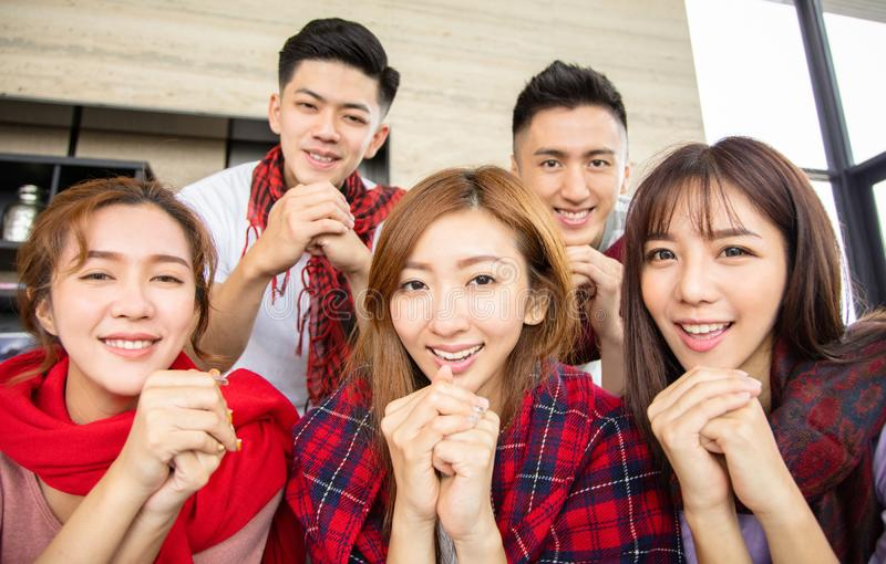 Young people having fun and celebrating chinese new year royalty free stock photo
