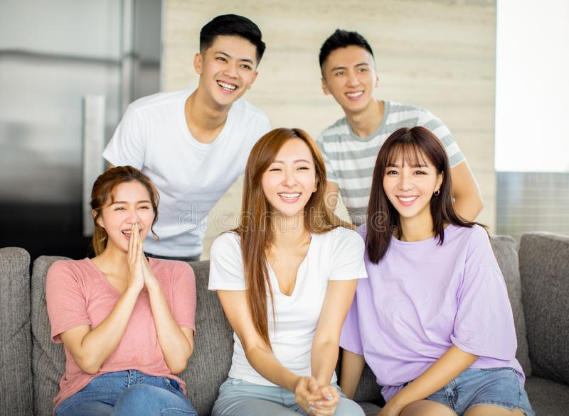 Young people having fun on the couch stock photos