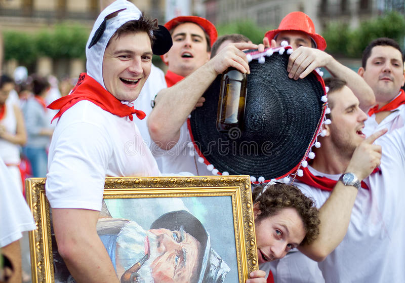 Young people having fun at San Fermin festival royalty free stock photo